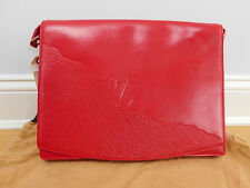 Louis Vuitton Rare Opera Red Leather Clutch Laptop Messanger Bag Retail $1,750