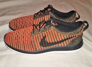 feda29653528 MENS NIKE ROSHE TWO FLYKNIT BLACK WHITE MAX ORANGE SHOE SIZE 10