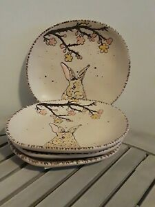 Spectrum-Designz-Easter-Bunny-Reactive-Appetizer-Plates-Dessert-SET-OF-4-Beige