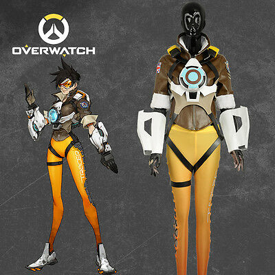 Overwatch Tracer Lena Oxton Nanosuit Clothing Cosplay Costume Custom Halloween