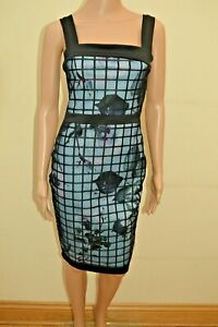 New-Lipsy-Black-Floral-Mesh-Built-Up-Panel-Dress-Sz-UK-10