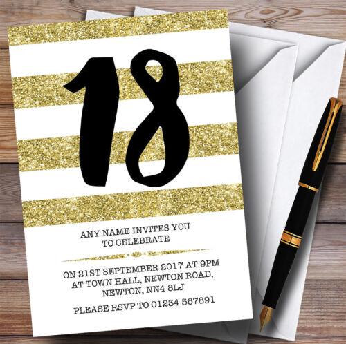 Paillettes or /& blanc rayures 18th personnalisé fête d/'anniversaire invitations