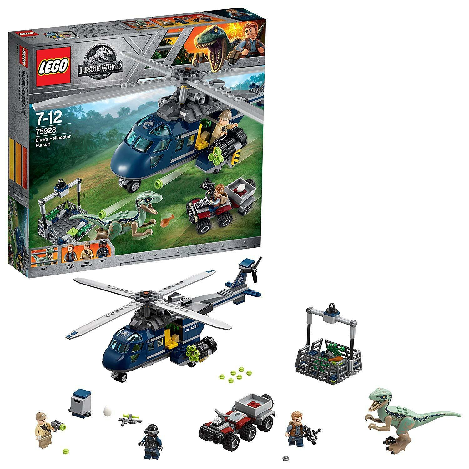 LEGO Jurassic World Blau's Helicopter Pursuit Construction Kids Play Dinosaur