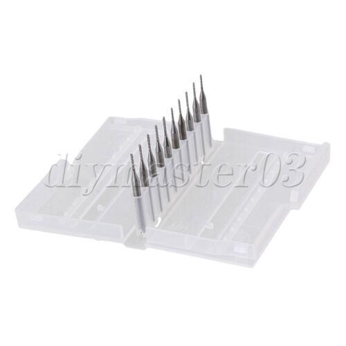10x1.1mm Wolframstahl CNC/PCB Schaftfräser Stich Spitzen Verschleißbeständigke