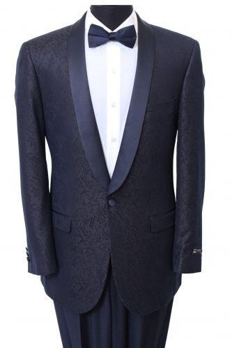Shawl Colar Paisley Blazer Mens Tuxedo Jacket slim fit By Tazio Navy BLue