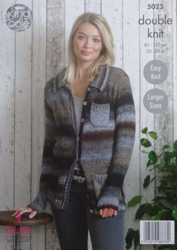 KNITTING PATTERN Ladies Cardigan and Jacket with Pockets Sprite DK KingCole 5023