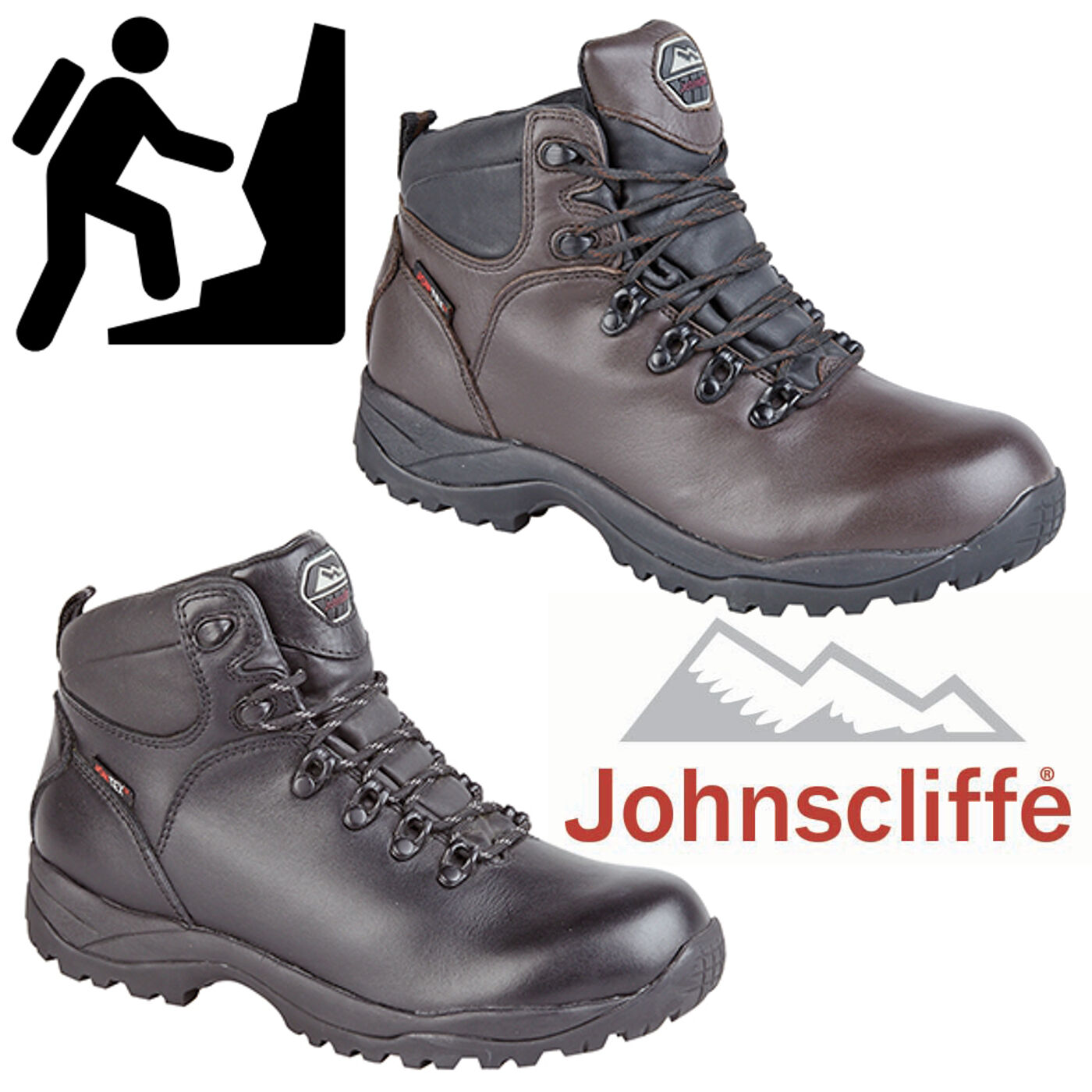 Johnscliffe Mens Typhoon Leather Hiking Boots Waterproof Boys Hillwalking Trail