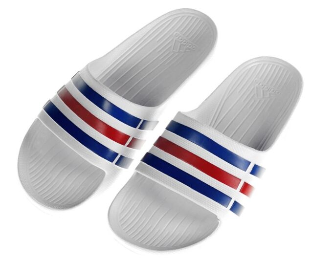 46297b367de2 Adidas Men Sandals Swimming Duramo Slides White Beach Shoes Unisex U43664  New