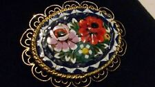 22ct Gold Plated Vintage Italian Millefiori Glass Micro Mosaic Flower Brooch****