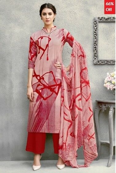 Light Pink Cotton Printed Dress Material with Dupatta SM-SK-ARN-ADCT718