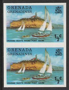 Grenada - Grenadines (435) 1975 Yachts 1/2c IMPERFORATE PAIR u/m
