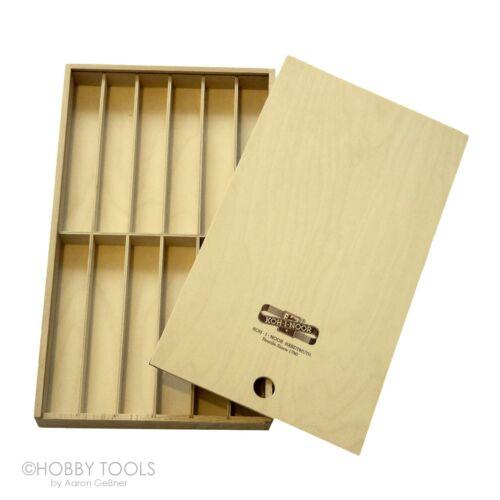 2x Schiebebox Sortier Box Köcher Holz Schachtel Stifte Schiebedeckel Stiftkiste
