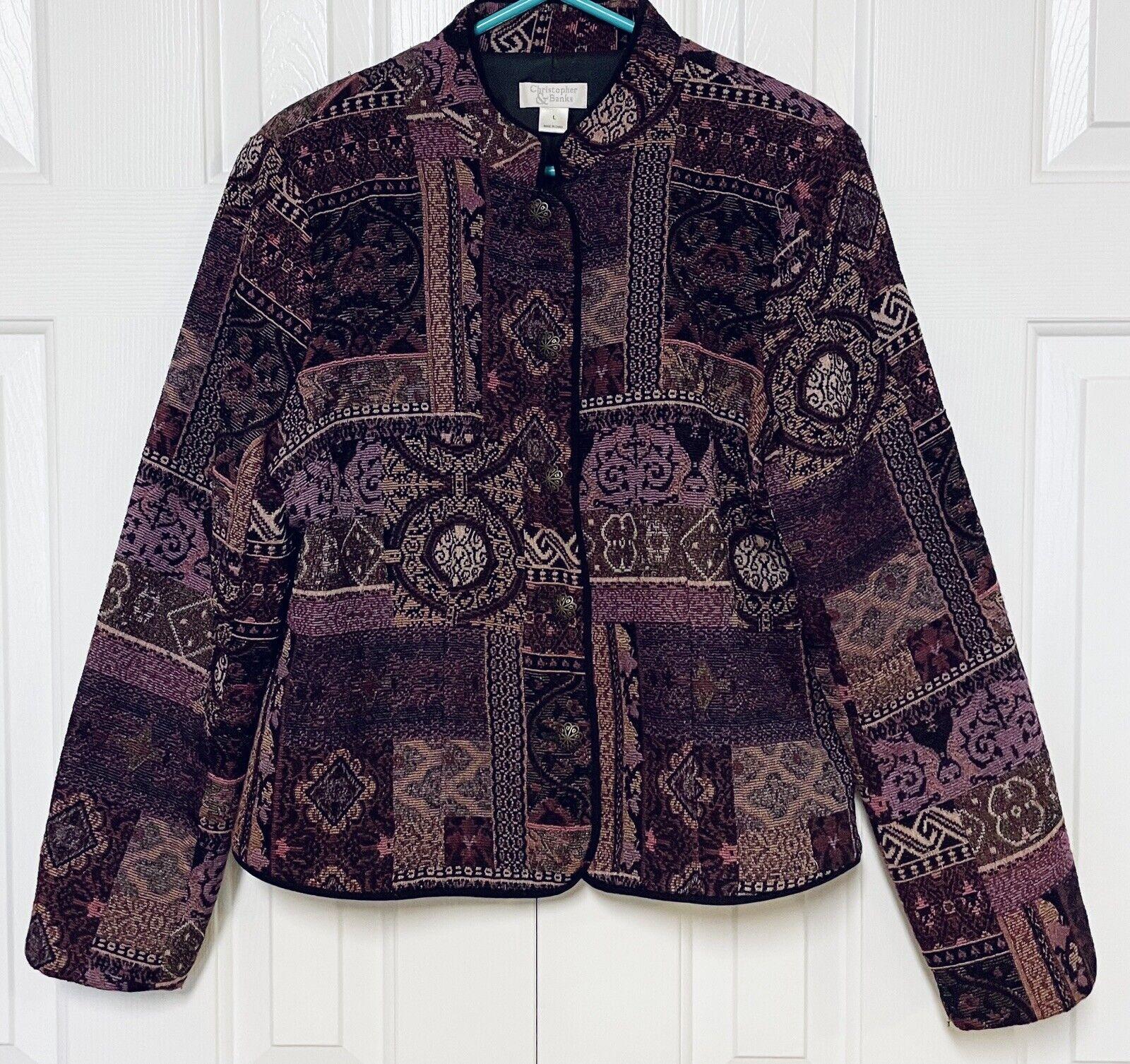 Christopher & Banks Blazer Plum Purple Tapestry A… - image 1