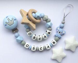 Personalised dummy clip e Teether Set-Ciuccio Clip-Soother Clip-blu