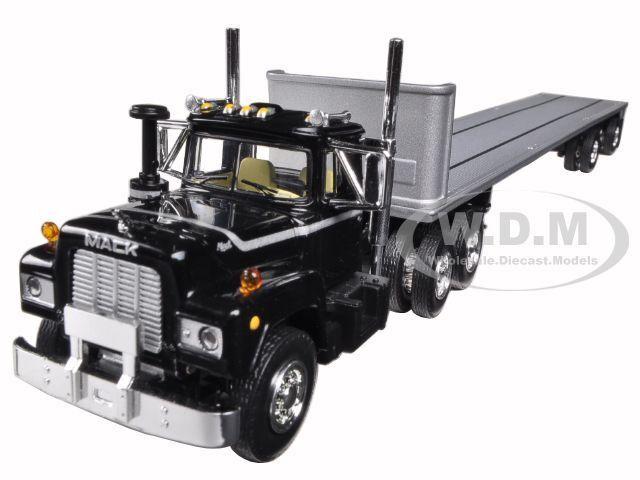 Mack R camión con dos 48ft plana con remolques apilados 1   64 por First Gear 60-0291