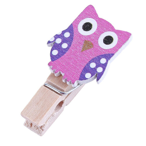 Owl Paper Photo Wood Clips Frame DIY Hanging Wall Album Picture Collage Clip