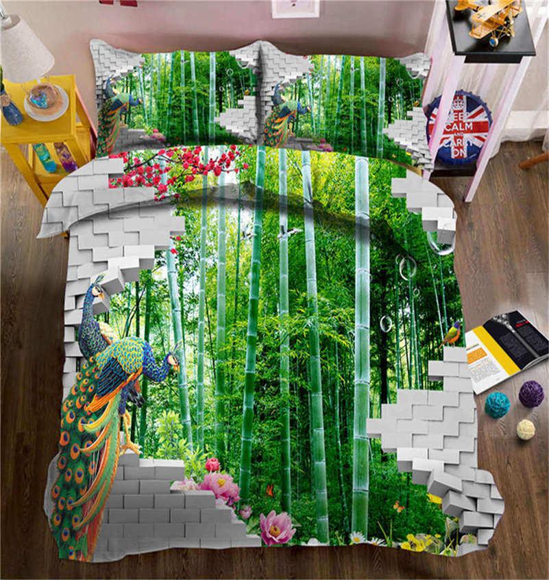 Fresh Bamboo Forest 3D Printing Duvet Quilt Doona Covers Pillow Case Bedding Set