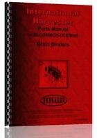 International Harvester Grain Binder Parts Manual (ih-p-gr Binder)