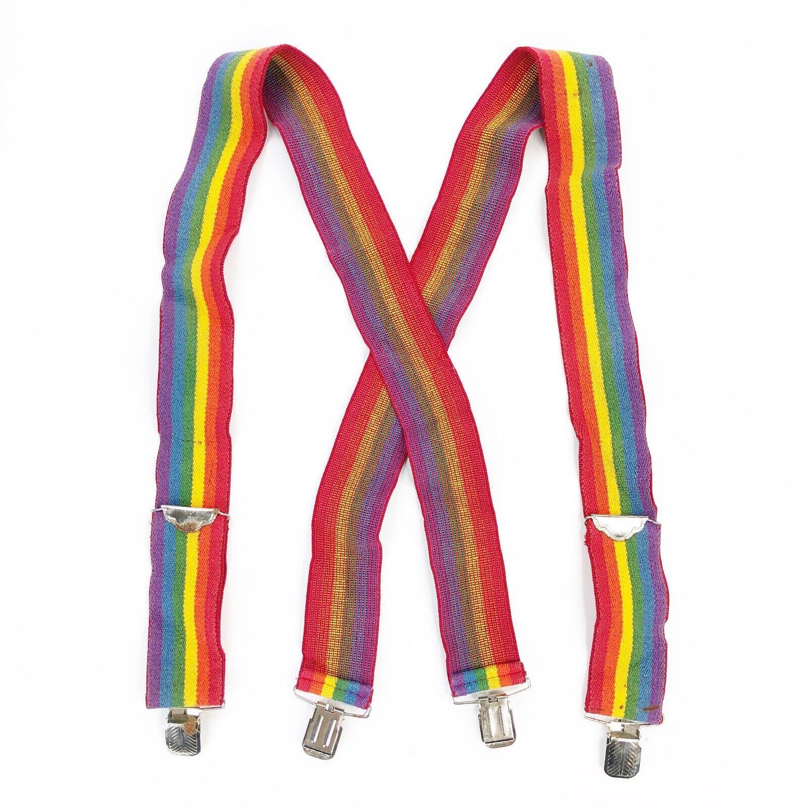 Vintage 70s 80s Rainbow Suspenders Mork Mindy Ork… - image 1