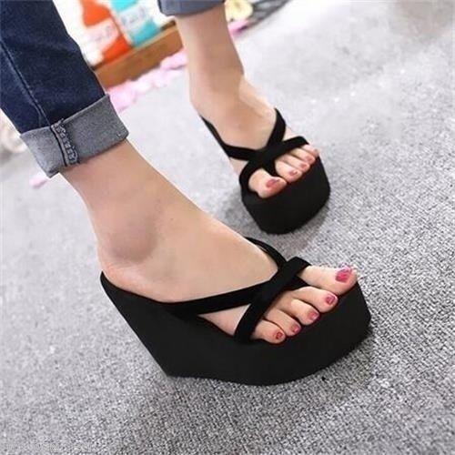 Womens Wedge  Flip Flops Thong High Heel Slippers Summer Sandals Beach C