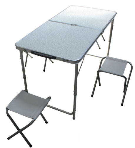 FOLDING ADJUSTABLE PICNIC TABLE with 4 STOOLS camping caravan motorhome