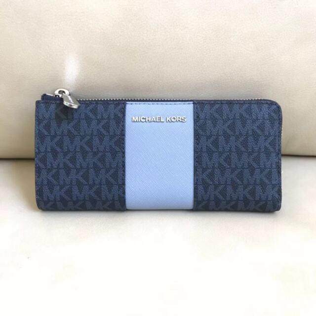 db05b1f00b39 Michael Kors Signature Center Stripe Large Quarter Zip Wallet Blue ...