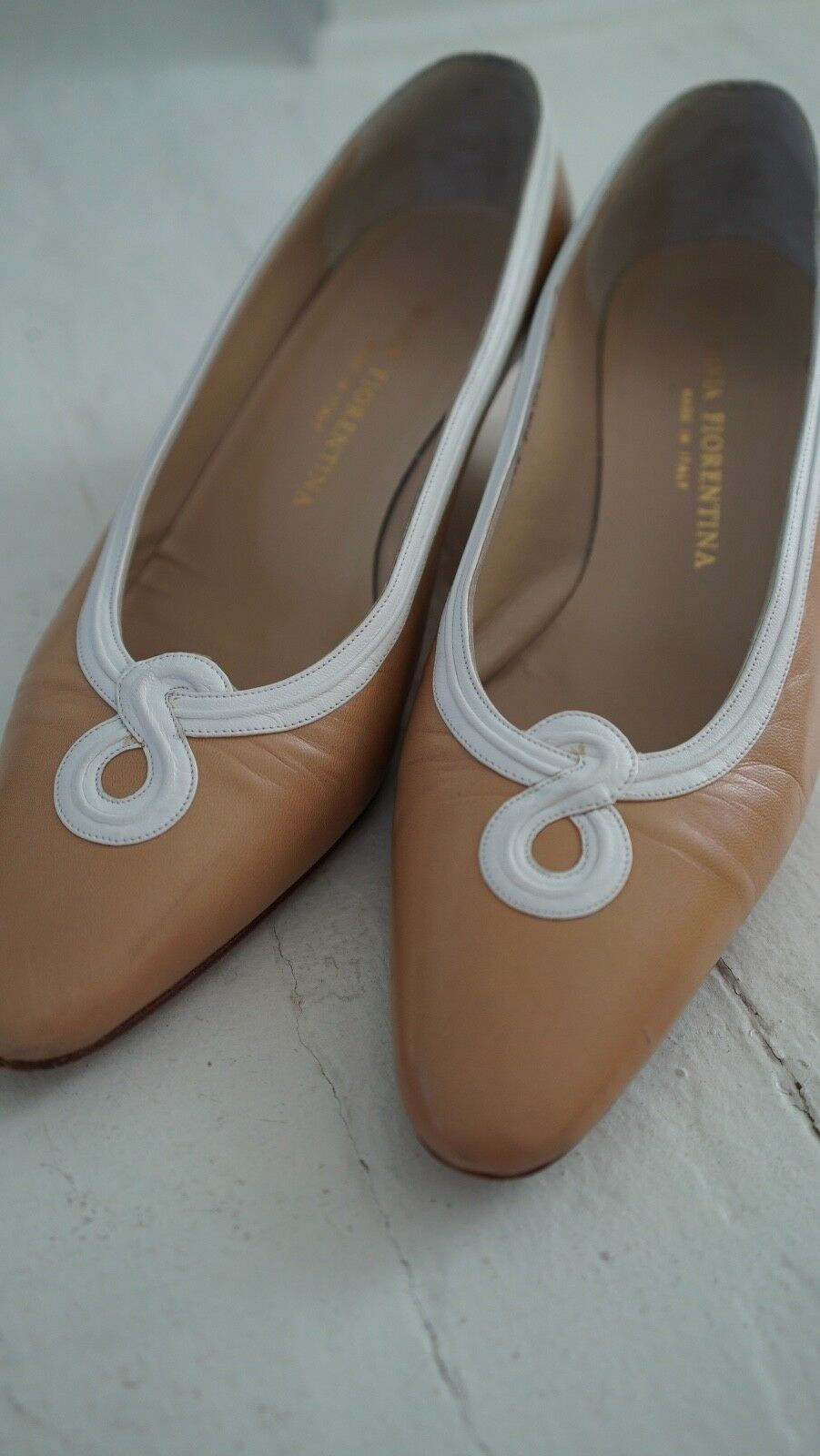 Silvia fiorentina beige pumps pumps pumps white trim low heel fdc0cf