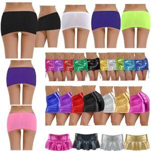 Sexy-Women-Shiny-Wetlook-Metallic-Liquid-Clubwear-Party-Short-Mini-Pencil-Skirt