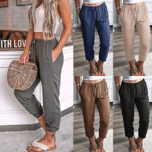 Femme-Bloomer-a-Taille-Haut-Casual-Jambe-droite-Ninth-Harem-Pants-Trousers-Baggy