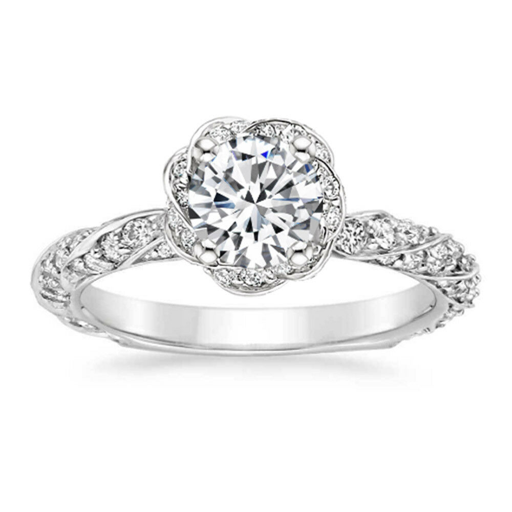 1.00 Round Halo Real Diamond Wedding Ring 14K Solid White gold Ring Size 6 7 5.5