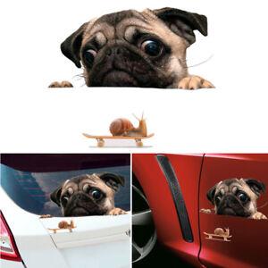 Funny-3D-Pug-Dog-Watch-Snail-Car-Window-Decal-Cute-Pet-Puppy-Laptop-Sticker-New
