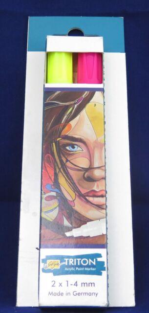 KREUL Acrylfarbstifte-Set Triton Acrylic Paint Marker 1.4 2er-Set Neon Gelb Pink