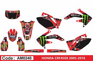 AM0240 HONDA CRF 450X 2005-2016 Autocollants Déco Graphics Stickers Decals Kit