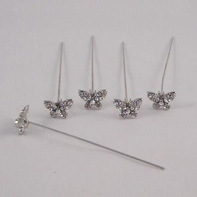 Faux diamond diamante Butterfly pins x 5 Clear Diamond