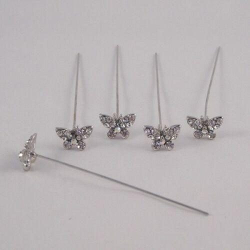 Imitación Diamante Diamante Mariposa Pins X 5 claro Diamante