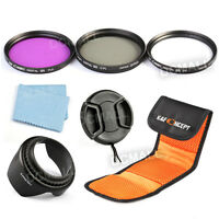 58mm Slim Uv Cpl Fld Lens Filter Kit + Lens Hood For Dslr Slr Canon Rebel 18-55
