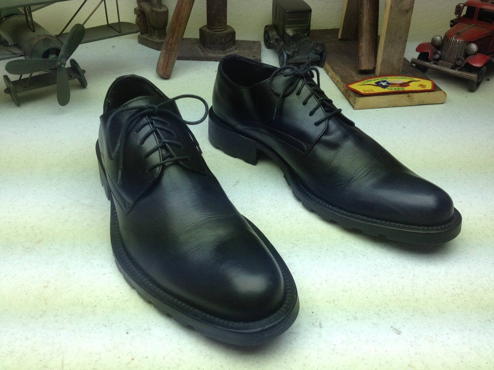 MADE IN ITALY KENNETH COLE schwarz LEATHER LEATHER LEATHER LACE UP OXFORD POWER schuhe 10 M 89339c
