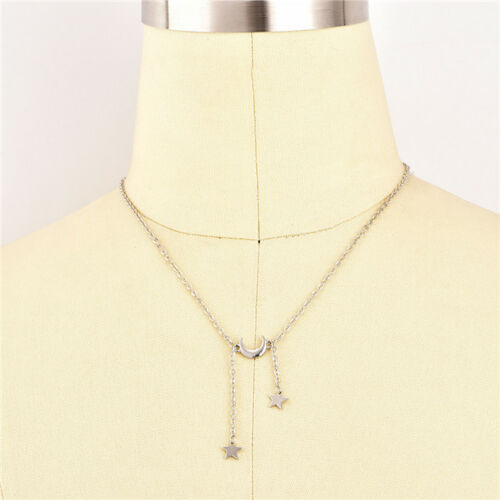 Women Simple Necklace Jewelry Long Pendant Gold//Silver Moon Star Choker Chain S