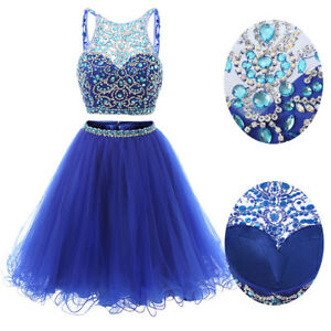 26bb2222a0bf 2 Pieces Short Tulle Homecoming Dress Beaded Prom Ball Gown Cocktail ...
