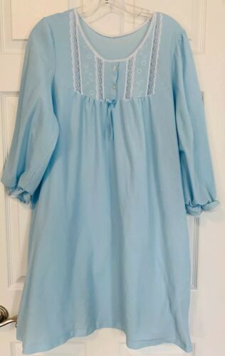 Vintage Flannel With Lace Trim Nightgown Pale Blue