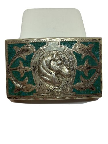 Nickel Sterling Silver Horse CZ 1975 Belt Buckle Western Cowboy