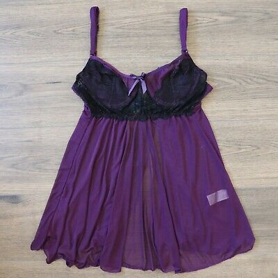sexy purple sheer black lace underwire babydoll chemise