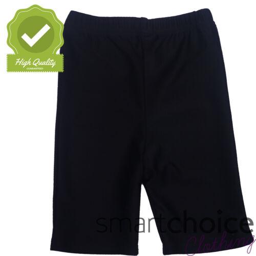Girls Kids Swimming PE Shorts Black Above Knee Length Elasticated Strechy 3-17Yr