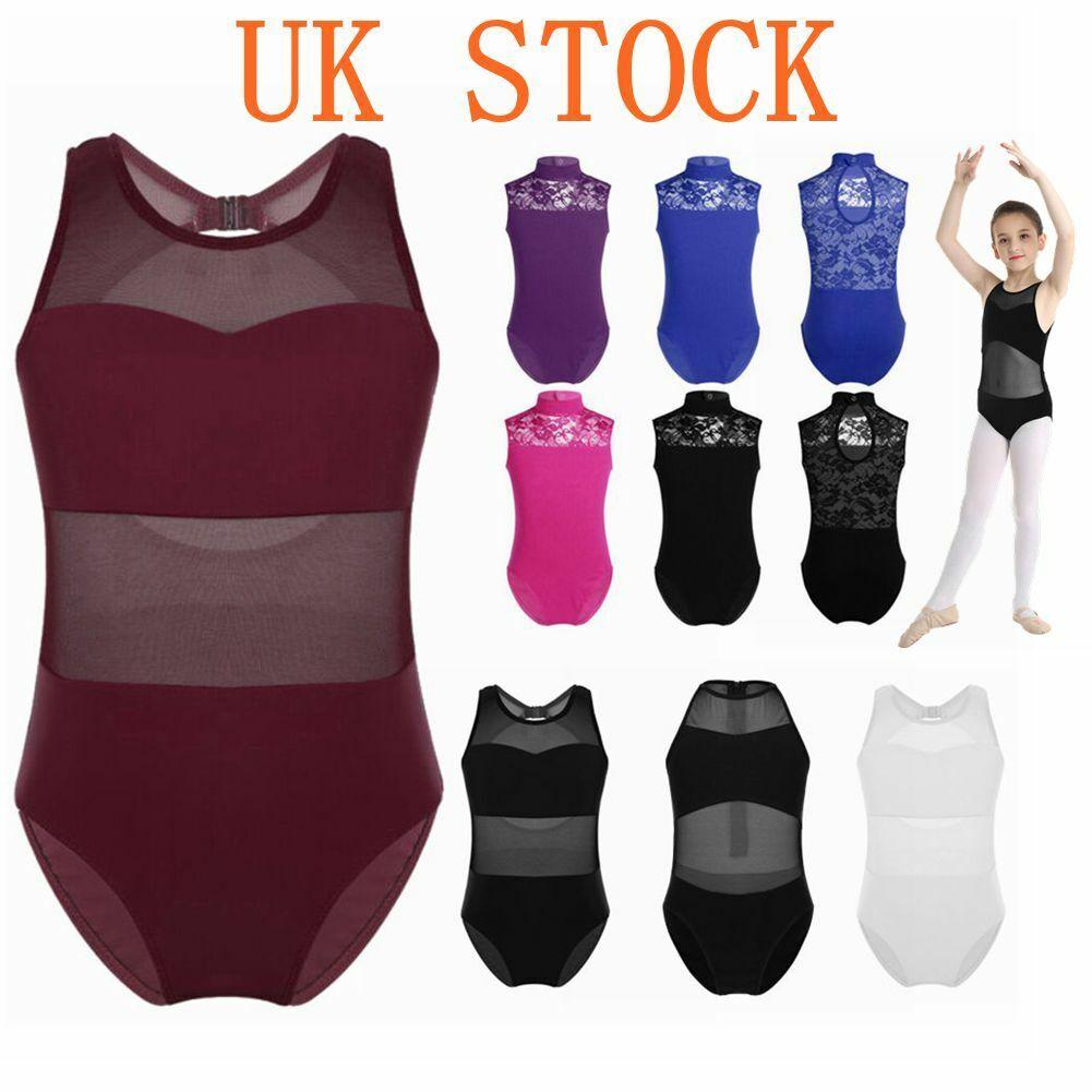 UK Girls Dancewear Bodysuit Sleeveless Tutu Ballet Leotard Gymnastics Jumpsuit