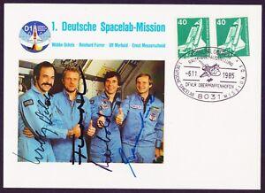 1. deutsche Spacelab Mission mit Originalunterschiften