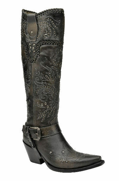 Corral Boots G1117 Ladies Western Charcoal (Black) Tall Whip Stitch and Studs