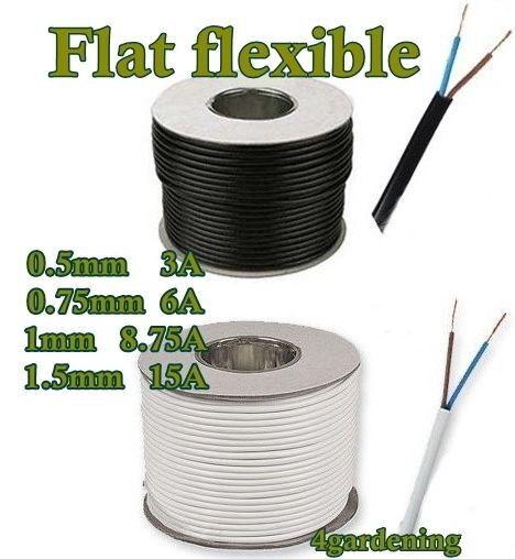 flexible cable H03VVH2-F 2192Y 2 x 0.75 mm² 2 core FLAT FLEX 100m white