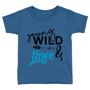 bdce68f62 Young Wild & Three Kids T-Shirt 3rd Birthday Years Old Sweet Cool ...