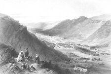 Israel, MOUNTAIN VALLEY OF NABLUS SHECHEM WEST BANK ~ 1850 Art Print Engraving