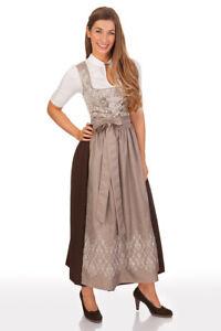 Stützle Damen Dirndl lang Trachten Kleid taupe 95cm ...